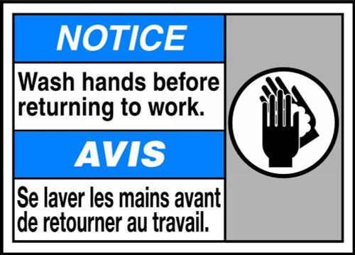 Notice Wash Hands Before Returning To Work (W/Graphic) - Adhesive Vinyl - 10'' X 14''