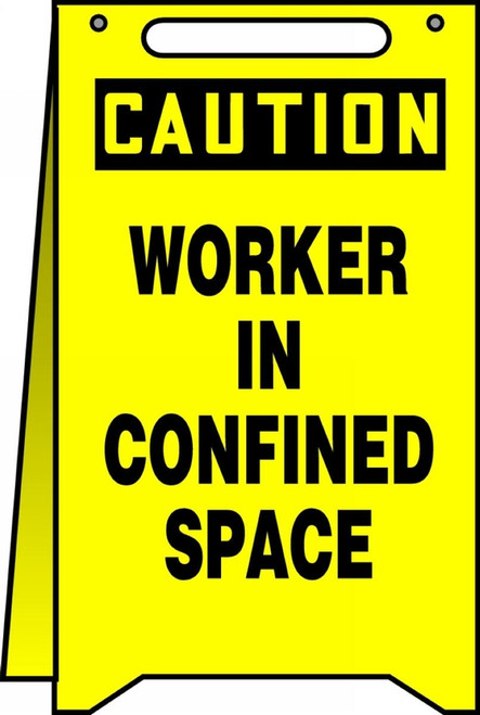 Caution Worker In Confined Space Fold Up Sign