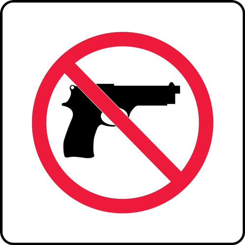 No Handgun Pictorial (Complies With Kansas Conceal/Carry Law) - Adhesive Vinyl - 10'' X 10''