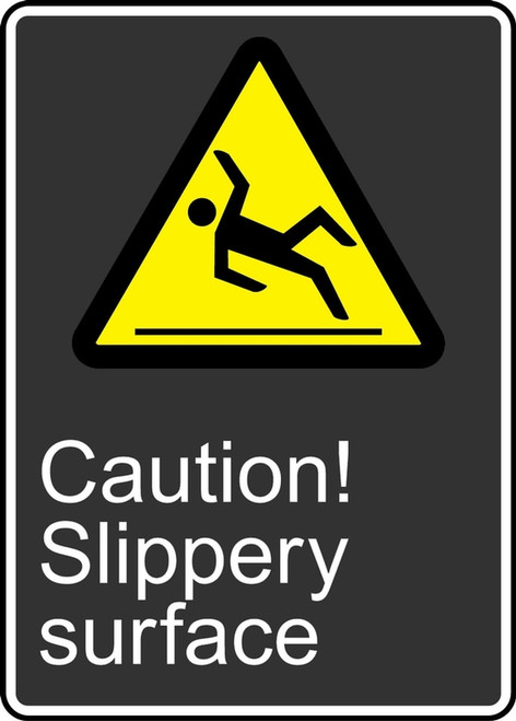 Caution Slippery Surface (Attention Surface Glissante) - Adhesive Vinyl - 14'' X 10'' 1