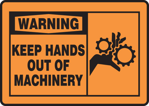 Warning - Keep Hands Out Of Machinery (W-Graphic) - Adhesive Dura-Vinyl - 7'' X 10''