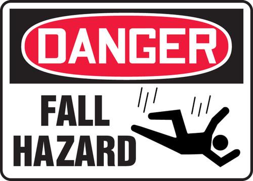 Danger - Fall Hazard (W/Graphic) - Re-Plastic - 7'' X 10''