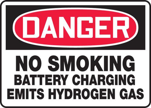 Danger - No Smoking Battery Charging Emits Hydrogen Gas - Adhesive Vinyl - 10'' X 14''