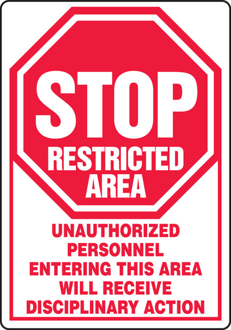 Stop Restricted Area Unauthorized Personnel Entering This Area Will Receive Disciplinary Action (W/Graphic) - Adhesive Dura-Vinyl - 10'' X 7''
