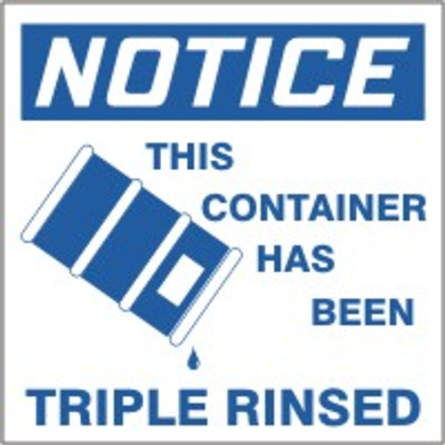 """Notice This Container Has Been Triple Rinsed (w/graphic) Labels- 6"""" X 6"""" 25/pkg"""