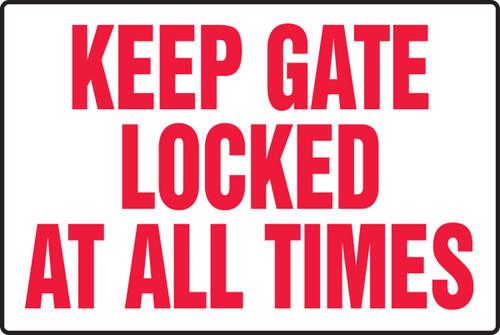 Keep Gate Locked At All Times - Dura-Fiberglass - 12'' X 18''