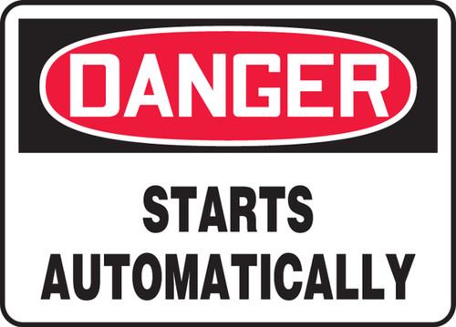 Danger - Starts Automatically - Adhesive Dura-Vinyl - 10'' X 14''