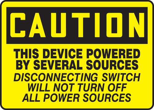 Caution - This Device Powered By Several Sources Disconnecting Switch Will Not Turn Off All Power Sources