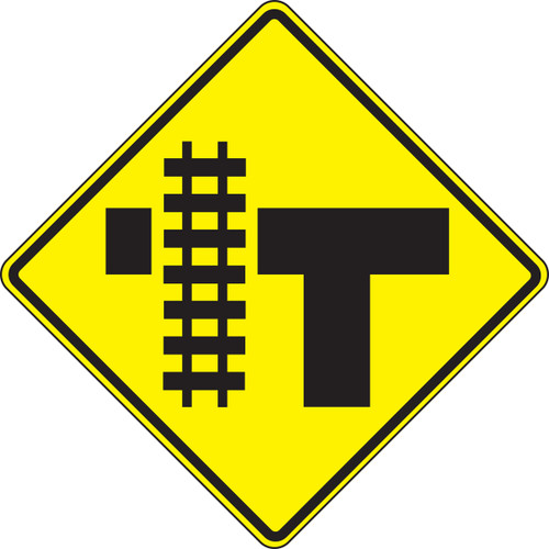 """T-intersection Parallel Railroad Crossing (left)- 30"""" X 30"""" Engineer Reflective"""