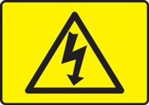 High Voltage Symbol (Black On Yellow) - Re-Plastic - 7'' X 10''