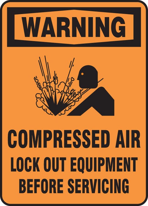 Warning - Warning Compressed Air Lock Out Equipment Before Servicing - Adhesive Vinyl - 14'' X 10''