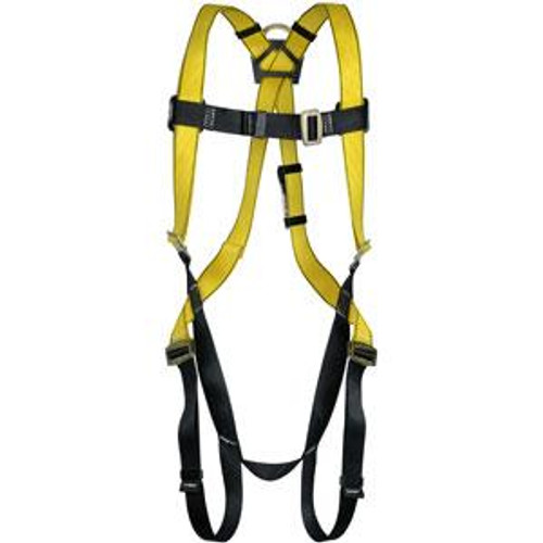 Workman Fall Protection Harness by MSA- Quik-Fit Chest Strap, Tongue Buckle Leg Straps- Hip D-Ring- STD