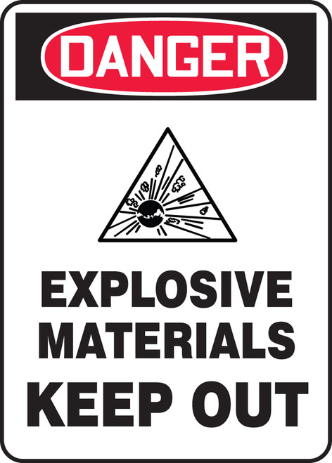 Danger - Danger Explosive Materials Keep Out W/Graphic - Re-Plastic - 10'' X 7''