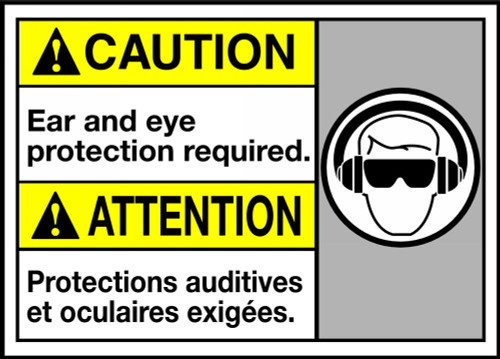 Caution Ear & Eye Protection Required (W/Graphic)