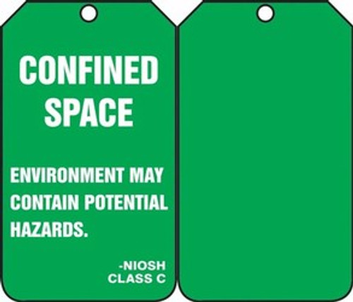 Confined Space Status Alert Tag