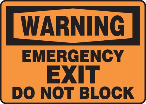 Warning - Emergency Exit Do Not Block
