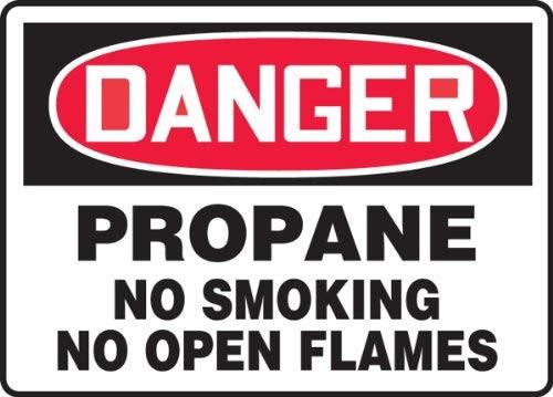 Danger - Propane No Smoking No Open Flames - Dura-Fiberglass - 10'' X 14''