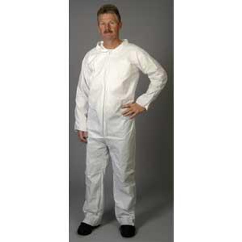 Disposable White Coveralls Zip Front  Large 25/Case