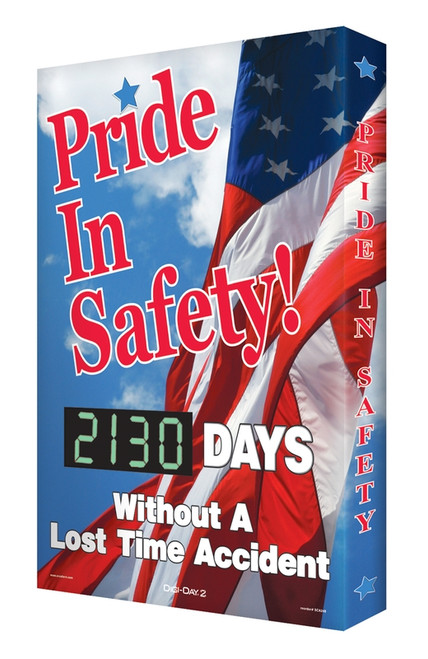 """Digi Day 2 Safety Scoreboard Pride in Safety... #### Days Without a Lost Time Accident- Safety Scoreboard- 28"""" x 20"""" SCG130"""