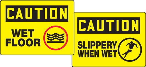Caution Wet Floor / Caution Slippery When Wet Quik Sign Fold Up Insert