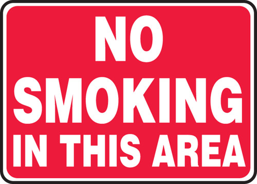 No Smoking In This Area (Wh/Rd) - Adhesive Vinyl - 7'' X 10''