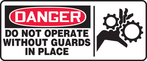 Danger - Do Not Operate Without Guards In Place (W/Graphic) - Adhesive Dura-Vinyl - 7'' X 17''
