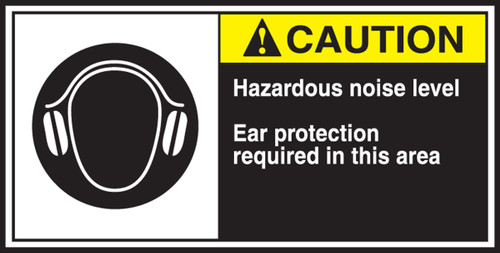 Hazardous Noise Level Ear Protection Required In This Area (w/graphic)