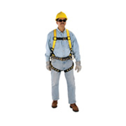 Workman Fall Protection Harness by MSA Quik-Fit Chest Strap, Tongue Buckle Leg Straps- STD