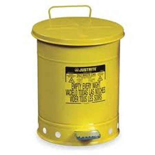 Yellow Oily Waste Can 14 Gallon - w/ Foot Operated Cover