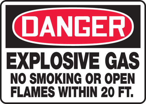 Danger - Explosive Gas No Smoking Or Open Flames Within 20 Ft. - Dura-Plastic - 10'' X 14''