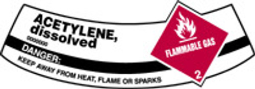 Acetylene, Dissolved Flammable Gas, Danger Keep Away From Heat, Flame Or Sparks