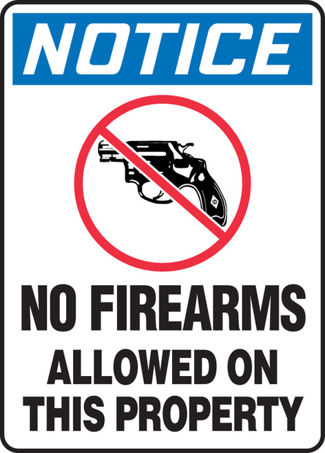 Notice - No Firearms Allowed On This Property (W/Graphic) - Adhesive Vinyl - 14'' X 10''