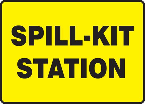 Spill-Kit Station (Black On Yellow) - Adhesive Dura-Vinyl - 7'' X 10''