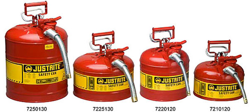 """Safety Can - Justrite Type II Safety Can -5 Gallon w/  1"""" Hose"""