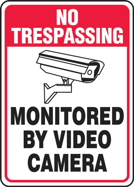 No Trespassing - Monitored By Video Camera (W/Graphic) - Adhesive Dura-Vinyl - 10'' X 7''