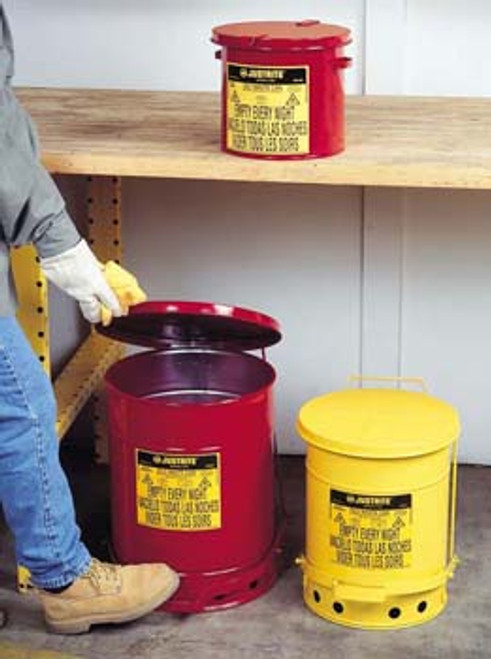 Red Oily Waste Can- 21 Gallon w/ Hand Operated Cover- red