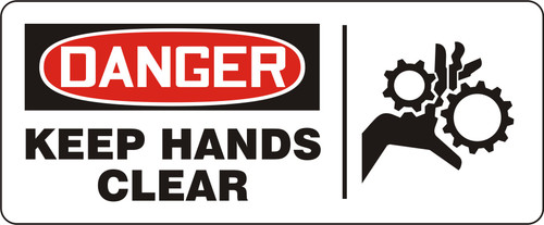 Danger - Keep Hands Clear Sign with Graphic
