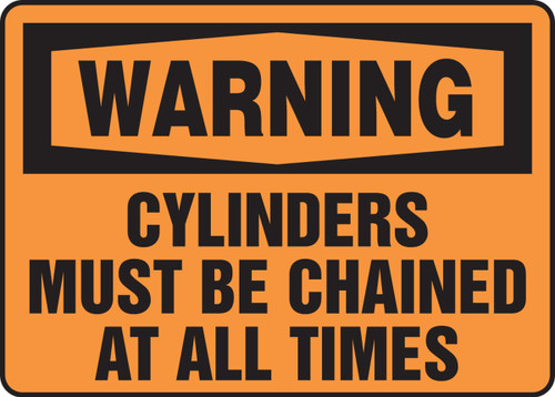Warning - Cylinders Must Be Chained At All Times