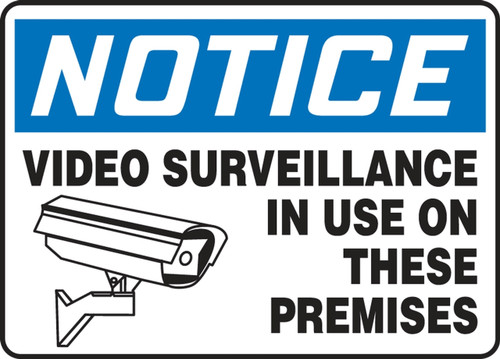 Notice - Video Surveillance In Use On These Premises (W/Graphic) - Re-Plastic - 10'' X 14''