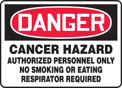 Danger - Cancer Hazard Authorized Personnel Only No Smoking Or Eating Respirator Required