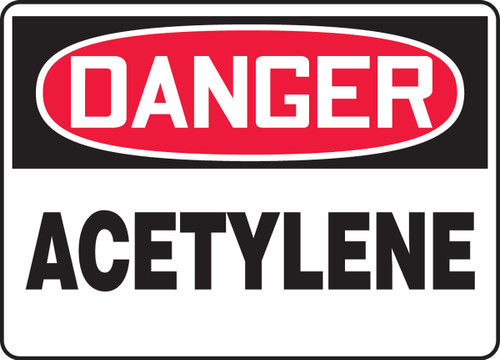 Danger - Acetylene - .040 Aluminum - 14'' X 20''