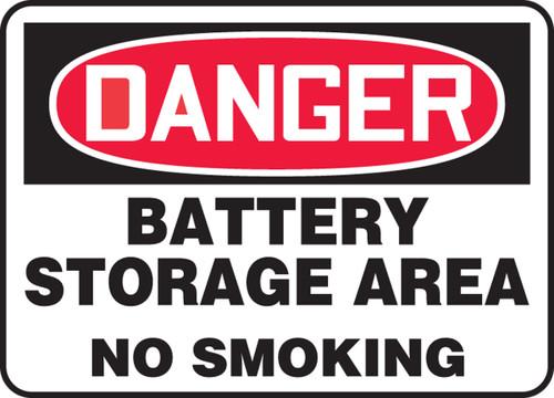 Danger - Battery Storage Area No Smoking - Adhesive Dura-Vinyl - 7'' X 10''
