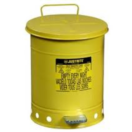 Yellow Oily Waste Can 10 Gallon- w/ Hand Operated Cover