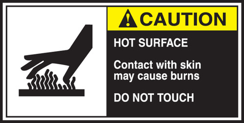 Hot Surface Contact With Skin May Cause Burns Do Not Touch (w/graphic) CEMA Label