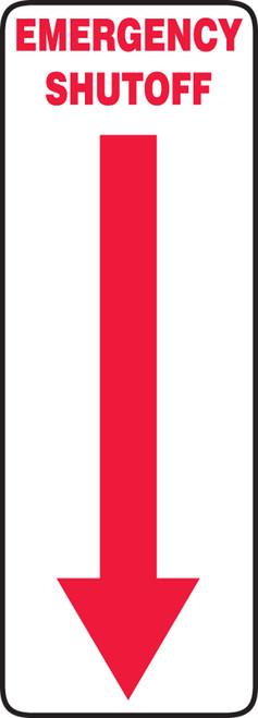 Emergency Shutoff Sign with Arrow