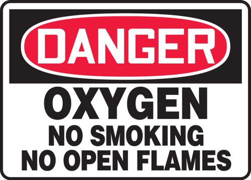 Danger - Oxygen No Smoking No Open Flames - Adhesive Vinyl - 7'' X 10''