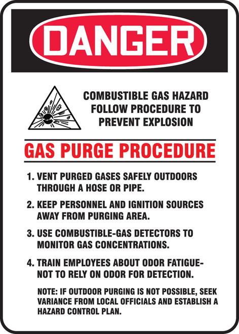 Danger - Danger Combustible Gas Hazard Follow Procedure To Prevent Explosion ... W/Graphic - Adhesive Vinyl - 14'' X 10''