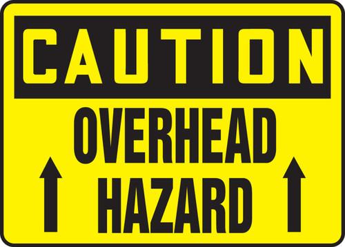Caution - Overhead Hazard (Arrow) - Adhesive Dura-Vinyl - 7'' X 10''