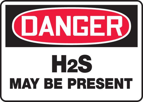 Danger - H2S May Be Present - Adhesive Vinyl - 14'' X 20''