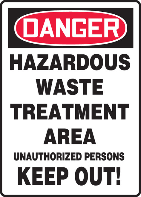Danger - Hazardous Waste Treatment Area Unauthorized Persons Keep Out! - Adhesive Vinyl - 14'' X 10''